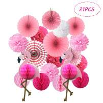 Kalolary Tropical Flamingo Party Honeycomb Decoration, Poms Poms Paper Flower Fan and Honeycomb Balls for Hawaiian Beach Luau Party Birthday Baby Shower Wedding Decorations(Pink)