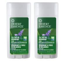 Desert Essence Tea Tree Oil Deodorant - 2.5 Oz - Pack Of 2 - Long Lasting - Propylene Glycol & Aluminum Free - Neem, Lavender, Chamomile - Neutralizes Odor - Citrus - Skin Protection - Antiseptic