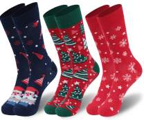 WXXM Unisex Christmas Holiday Socks Colorful Fancy Crazy Design Soft Novelty Crew Socks 3/6 Pairs