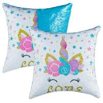"""Sequins Throw Pillow Case Valentine Decor Valentine Gift for Kids Girls Festival Decorative Mermaid Reversible Cushion Cover Home Decor Pillow Cases for Sofa Bed 16""""x16"""",2 Pack"""