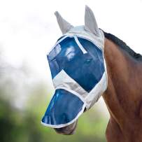 Harrison Howard CareMaster Horse Fly Mask Long Nose with Ears UV Protection for Horse Silver/Blue Retro
