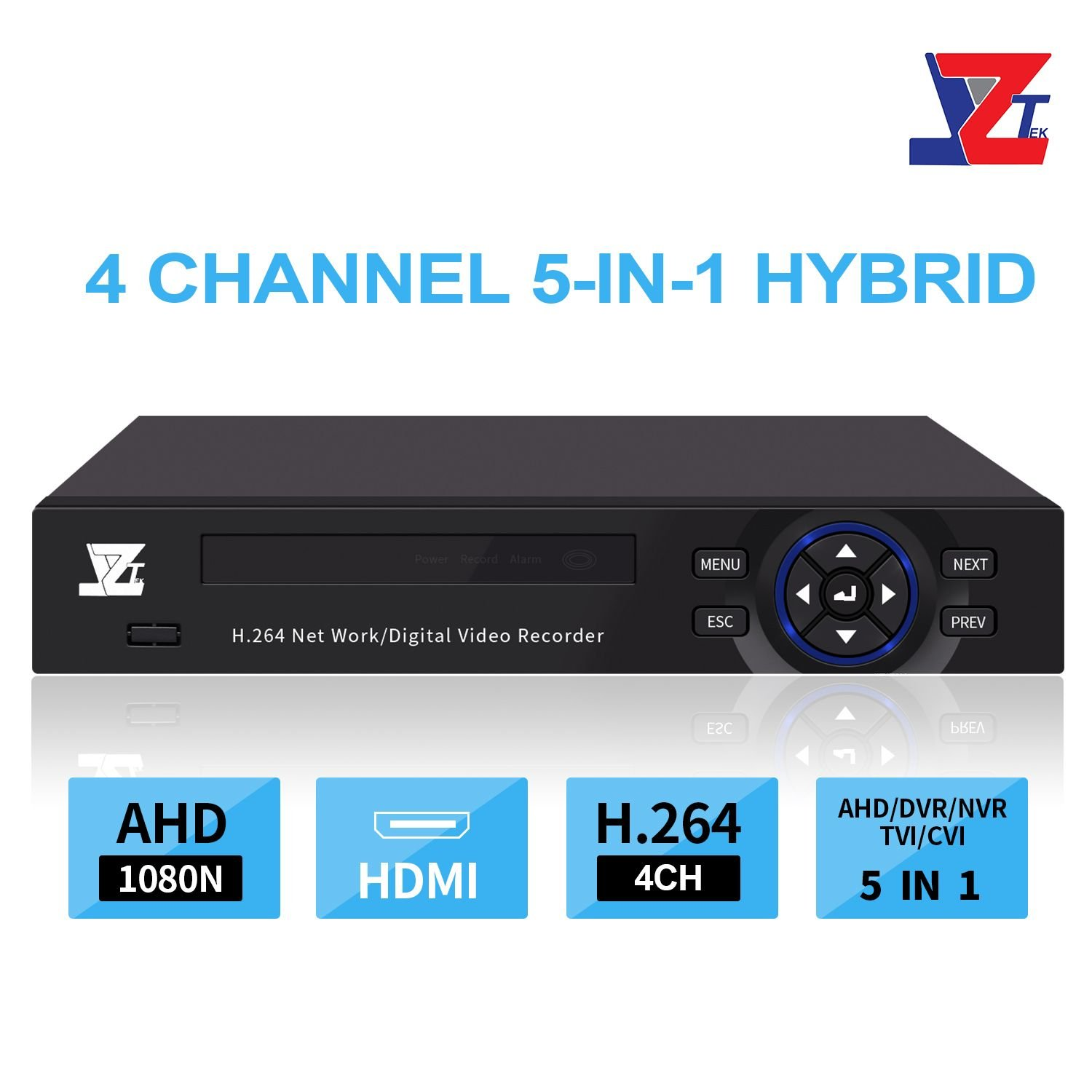 JZTEK 4ch 1080N Hybrid 5-in-1 AHD (1080P NVR+1080N AHD+960H Analog +TVI+CVI) CCTV 4-Channel dvr HDMI Output Quick QR Code Scan Remote View Motion Detection&email Alert Home Security Camera System