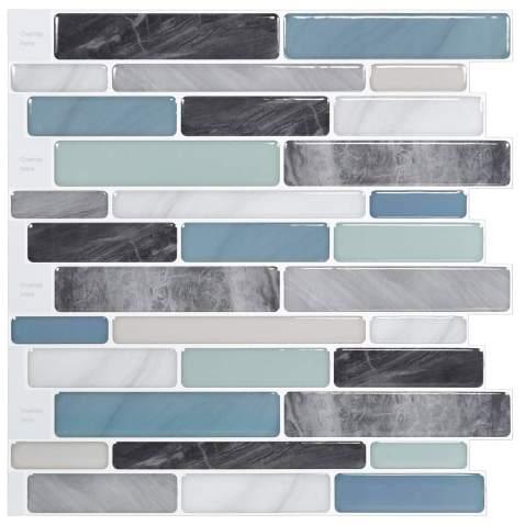 Longking Self Adhesive Kitchen Backsplash Marble Look Decorative Tiles 10 Tiles