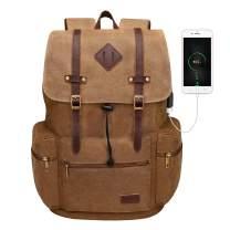 Modoker Canvas Vintage Laptop Rucksack Backpack for Men Women, 15.6 Inch Brown Travel Laptop Backpack with USB Charging Port, College School Bag Fashion Vegan Bookbag Casual Daypack