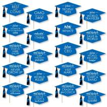 Big Dot of Happiness Hilarious Blue Grad - Best is Yet to Come - Royal Blue Graduation Party Photo Booth Props Kit - 20 Count