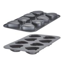 Baker's Advantage 5176951 Fillables 2-Piece Non-Stick Heart Loaf Pan, 8-Cup, Gray
