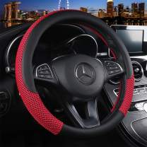 Cxtiy Universal Car Steering Wheel Cover Cool for Summer Warm for Winter Steering Wheel Cover Fit Most of Cars SUV Auto Vehicle (C-red)