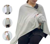 Nursing Cover Poncho for Breastfeeding Adjustable Knitted Nursing Scarf with Button Closure for Privacy Feeding Cover Breathable Nursing Shawl,Cloud Grey