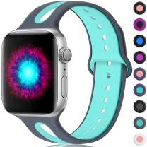 Haveda Sport Bands Compatible for Apple Watch Series 5 40mm Band Series 4, Soft Series 5 Wristbands Silicone 38mm iWatch Bands for Apple Watch Series 3/2/1, Women Men Kids 38mm/40mm S/M Grey/Teal