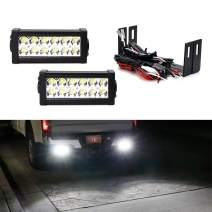 iJDMTOY Rear Bumper Mount Searchlight Reverse LED Light Bars Compatible With 08-18 Chevy Silverado GMC Sierra 1500 2500 3500, (2) 36W LED Lightbars, Bumper Frame Mount Brackets & On-Off Switch Wiring