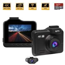 Dash Cam Front and Rear, OnReal M1-4K Dash Cam, 2160P+1080P Dual Lens Car Dashboard Camera DVR with WiFi GPS, 170° Wide Angle, Night Vision, Parking Monitor, Loop Recording, G-Sensor, WDR, 32GB Card