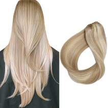 Real Human Hair Clip in Extensions Beige Blonde with Bleach Blonde Highlights 20 Inch Soft Straight Clip on Balayage Hair Extensions for Full Head 70grams/7pcs