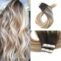 Moresoo 14 Inch Seamless Skin Weft Hair Extensions Remy Human Hair Balayage Hair Color Dark Brown #2 Fading to Blonde #27 Mixed #613 100g/40pcs Tape in Remy Hair Extensions Full Head Set