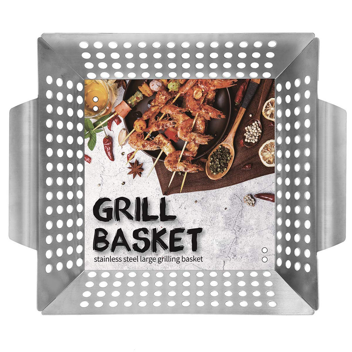 """Ranphykx Vegetable Grill Basket - BBQ Grilling Basket (Large 12""""x12""""x3"""") for Veggies, Kabobs, Seafood, Meats - Stainless Steel"""