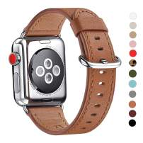 WFEAGL Compatible iWatch Band 38mm 40mm,Top Grain Leather Band Replacement Strap for iWatch Series 4,Series 3,Series 2,Series 1,Sport, Edition(Brown Band+Silver Adapter,38mm 40mm)