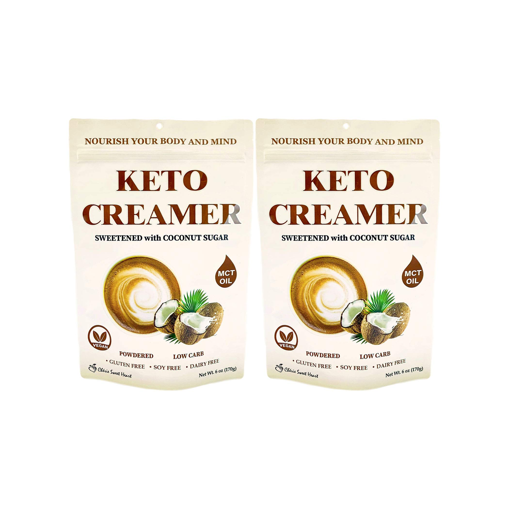 Cherie Sweet Heart Keto Creamer With MCT Oil, Sweetened With Coconut Sugar, Dairy Free, Coffee Creamer Milk Substitute (12 Ounce)