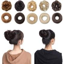 Messy Bun Hair Piece 100% Human Hair Scrunchies Curly Wavy Updo Bun Extensions Elastic Rubber Band Scrunchie Chignon Donut Ponytail Hairpiece for Women 1# Jet Black 2PC/Straight