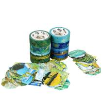 Molshine Set of 8 Japanese Washi Masking Tape,Adhesive Sticky Paper Tape+ 90pcs Planner Stickers–Van Gogh Oil Painting Series Collection for Journals, Daily Planners,Decoration,DIY,Gift Packaging