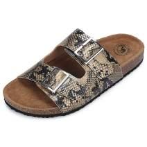 CAMEL CROWN Women's Slide Sandal Casual Snakeskin Open Toe Slip On Low Heel Summer Sandal