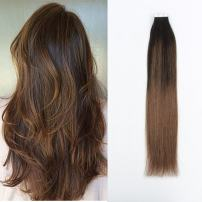 Sassina 50 Grams 20 Pieces Pre-taped Seamless Balayage Tape in Hair Extensions Double Sided, Semi-permanent PU Skin Weft Colored Dark Brown to Chestnut Brown (B2-6 22 Inch)