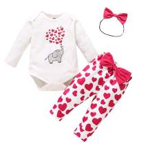 Toddler Baby Girls Valentine's Day Outfits Kids Long Sleeve Ruffle Tunic Top+Love Heart Letter Pants+Headband 3Pcs Clothes