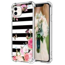 """Hepix Floral iPhone 11 Case Pink Roses Flowers 11 iPhone Cases with Butterfly, Slim Soft Flexible TPU Frame with Protective Bumpers, Rasied Lip Anti-Scratch Shock Absorbing for iPhone 11 (6.1"""") Gifts"""