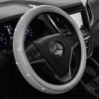 eing Car Steering Wheel Cover with Bling Crystal Diamonds Leather Steering Wheel Case Accessories,Silver