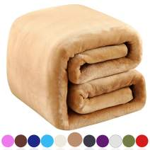 "Richave Fleece Blanket Queen Size 350GSM Lightweight Throw for The Bed Extra Soft Brush Fabric Super Warm Sofa Blanket 90"" x 90""(Camel Queen)"