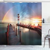"""Ambesonne Lighthouse Shower Curtain, Sunset at Seaside Wooden Docks Lighthouse Clouds Rainbow Waterfront Reflection, Cloth Fabric Bathroom Decor Set with Hooks, 70"""" Long, Blue Red"""