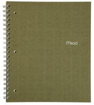 """Mead Spiral Notebook, 1 Subject, College Ruled Paper, 80 Sheets, 11"""" x 8-1/2"""", Recycled, Moss (72441)"""