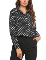 Zeagoo Women's Button Down Shirt Long Sleeve Collared Tops Chiffon Blouse for Women