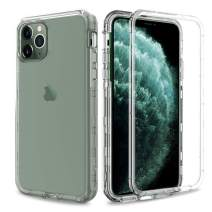 AMENQ Case for iPhone 11 Pro Max, [Built in Screen Protector] Heavy Duty Crystal Clear Hard Protective Case with Shockprook TPU Bumer and Rugged PC Back Armor Cover for iPhone 6.5 2019 (Crystal Clear)