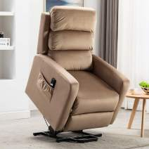 Bonzy Home Power Lift Recliner Chair Velvet Fabric Electric Recliner with Remote Control - Bedroom & Living Room Chair Recliner Sofa for Elderly (Mocha)