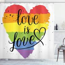 """Ambesonne Pride Shower Curtain, LGBT Gay Lesbian Parade Love is Love Hand Writing Paint Strokes, Cloth Fabric Bathroom Decor Set with Hooks, 70"""" Long, Red Black"""