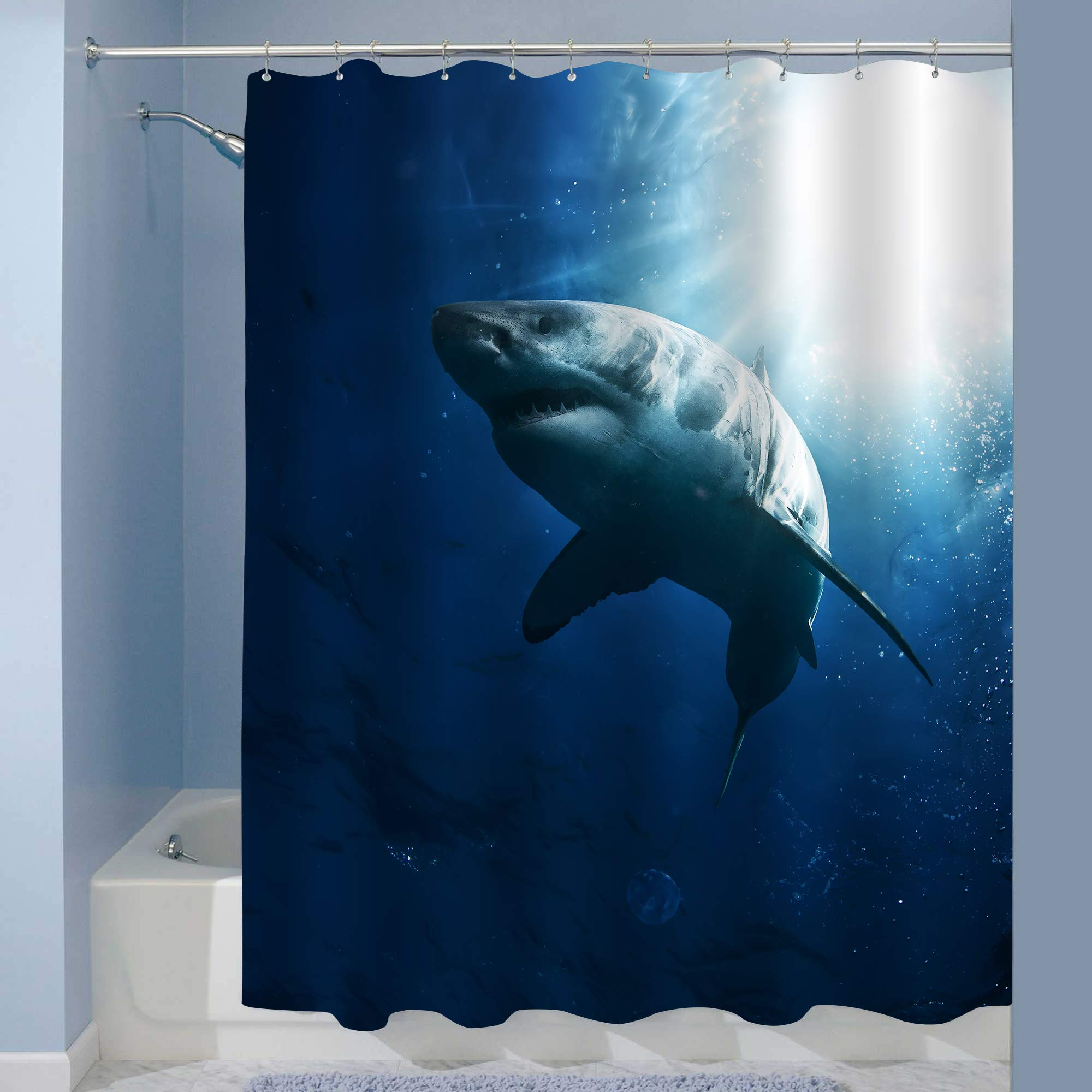 Great White Sharks Cruises in the Ocean Underwater with Sunrays Shower Curtain Set, Degerous Wild Life in Underwater World, Washable Cloth Bathroom Shower Decoration, Navy Blue, 72 x 72, Standard