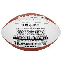 KWOOD Custom Personalized Football,Engraved Leather Indoor/Outdoor Football with Pump & Carrying Bag,Best Gift for Your Son Anniversary Birthday Graduation