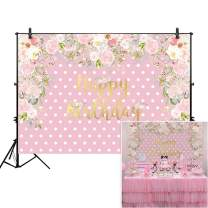 Allenjoy 5x3ft Pink Polka Dot Floral Girl's Party Backdrop for Cake Smash Studio Photography 1st First Birthday Flower Candy Sweet Table Decoration Home Decor Baby Shower Background Photo Booth Props