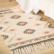 Print Tufted Cotton Rug Mat Boho Geometric Tassels Throw Area Rugs Machine Washable Fringe with Non-Slip Mat for Bathroom,Bedroom,Living Room,Laundry Room Kitchen Rug,Doormat (2'x3')