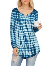 AMCLOS Womens Floral Tie-Dye Tops V Neck T-Shirts Button up Tunic Casual Flowy Pleats Tanks Long Sleeve Blouses