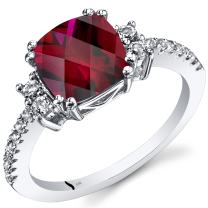 14K White Gold Created Ruby Ring Cushion Checkerboard Cut 3.00 Carats Sizes 5 to 9