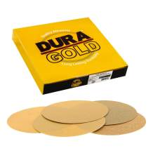 """Dura-Gold - Premium- Variety/Assortment Pack (40,80,120,220,320) - 8"""" Gold PSA Self Adhesive Stickyback Sanding Discs for DA Sanders - Box of 10 Sandpaper Finishing Discs for Automotive, Woodworking"""
