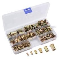 AUTOUTLET 150PCS Rivet Rivnut Assortment Kit Rivet Nuts Tool Kit Steel Yellow Zinc Plated Threaded Rivnut Nutsert Insert Set M3 / M4 / M5 / M6 / M8 / M10