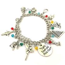 Peter Charm Pan Bracelet - Faith Trust and Pixie Dust Charms Bracelets Jewelry Merchandise Gift Women (Silver)