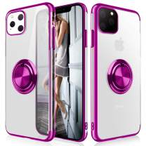 WATACHE iPhone 11 Case, Clear Crystal Ultra Slim Soft TPU Electroplated Frame Case Cover with Built-in 360 Rotatable Ring Kickstand for iPhone 11,Purple