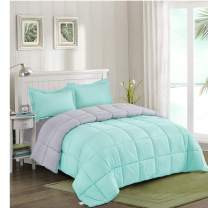HIG Reversible Lightweight Comforter - All Season Down Alternative Comforter Twin Summer Duvet Insert Blue Quilted Bedding Comforters with Corner Tabs Twin/Twin XL Size Aqua Blue/Light Grey