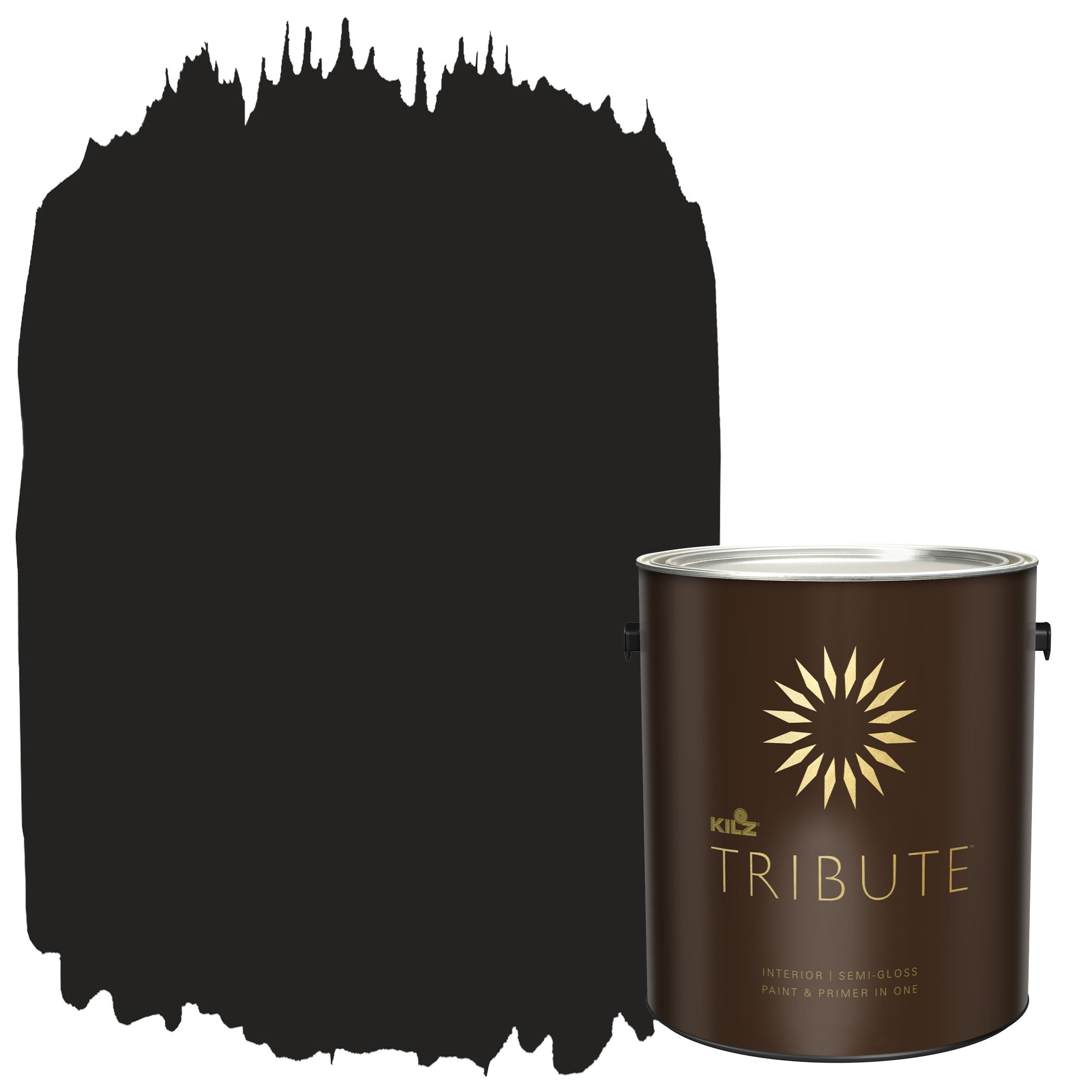 KILZ TRIBUTE Interior Semi-Gloss Paint and Primer in One, 1 Gallon, Deep Onyx (TB-40)