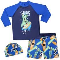 GAZIAR Boys Swimwear Sets Shark Dinosaur Swimsuit Two Piece with Rash Guard UV Protection 2-7 Years