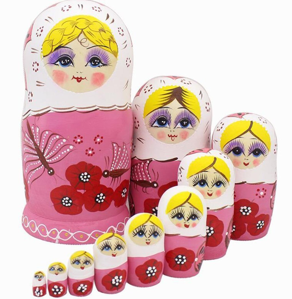 Winterworm Cute Lovely Pink Butterfly and Red Flower Pattern Handmade Wooden Russian Nesting Dolls Matryoshka Dolls Set 10 Pieces for Kids Toy Birthday Home Decoration