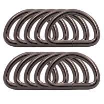 BIKICOCO Metal D Rings Hooks Buckle Strap Adjuster for Purse, Bag, Shoulder Backpack, Belt, Webbing, Pet Collars, 1x0.6 Inch Inside Dimensions, Gunmetal, Pack of 10