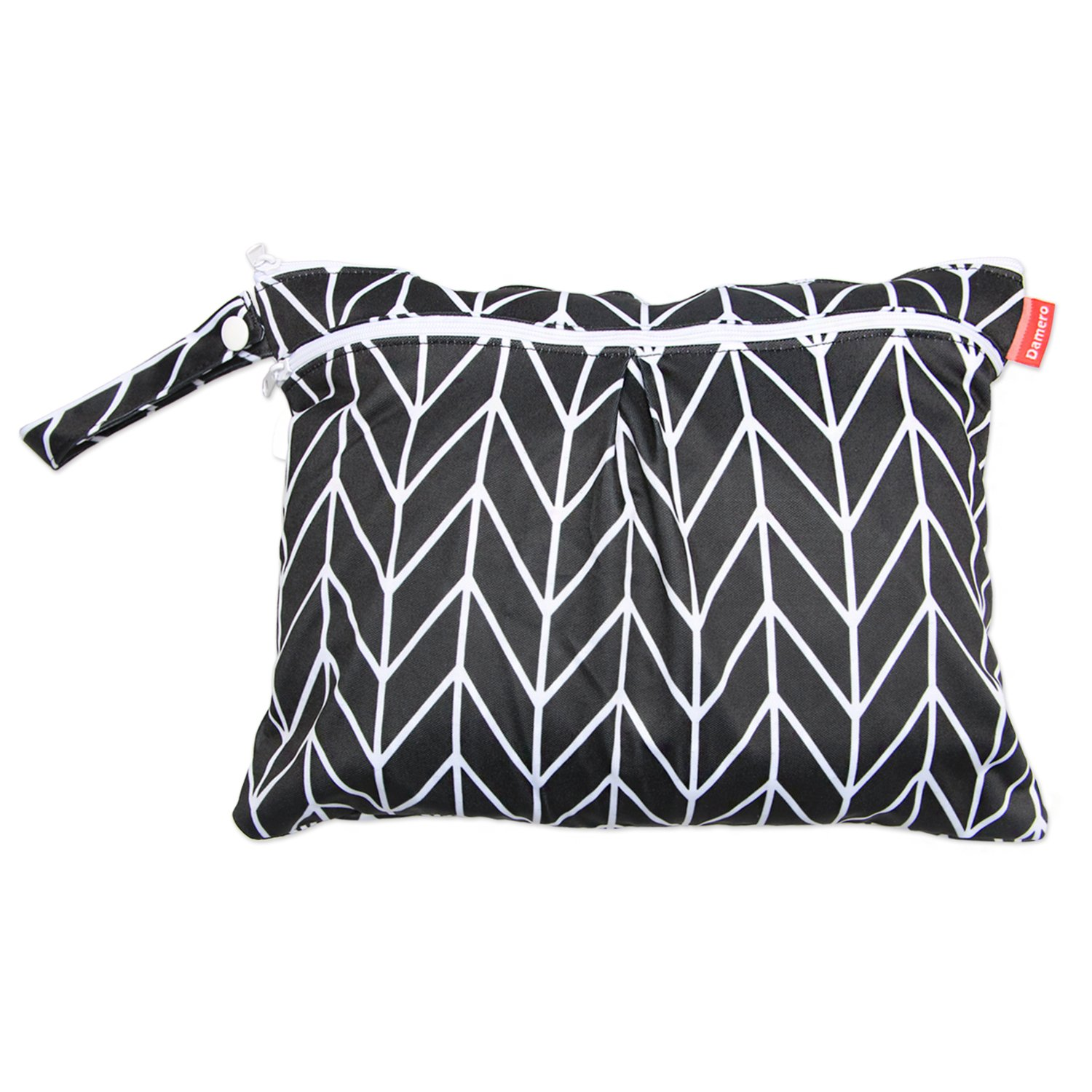 Damero Travel Wet and Dry Bag with Handle for Cloth Diaper, Pumping Parts, Clothes, Swimsuit and More, Easy to Grab and Go (Small, Black Arrows)